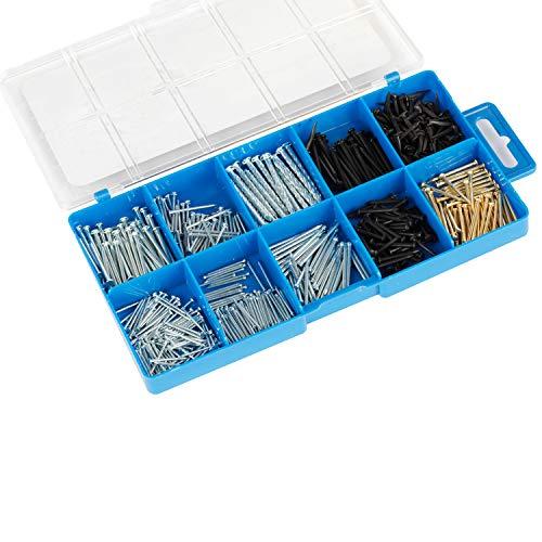 BAAB Organisations-Nagel-Sortiment, 556 Stück, inkl. flacher Kopf-Nägel, kleiner Kopf-Nägel, gedrehte Nägel, halbrunde schwarze Nägel, Teppich-Nägel, kupferbeschichtete Nägel