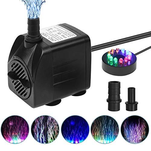 Flintronic Mini Bomba de Agua Sumergible, 12 LED Luces con 4 Colores Cambiantes Y 2 Boquillas, 15W/1.5m Bomba de Acuario para Piscinas Pequeñas, Tanques de Peces de Acuario, Fuente de Decoración
