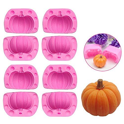 4 Pares de Moldes de Pastel de Calabaza 3D, Mini Molde de Calabaza de Silicona Moldes de Gelatina de Halloween para Dulces Navideños de Acción de Gracias, Hornear