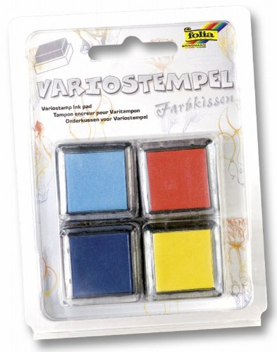 folia 30172 - Variostempelkissen Set III, 4 Stück, 4 farbig sortiert - ideal für Fingerabdruck Bilder