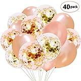 Globos de confeti de oro rosa 40pcs 12 pulgadas globos de fiesta de látex Para boda, cumpleaños, baby shower, graduación, decoraciones de fiesta de ceremonia