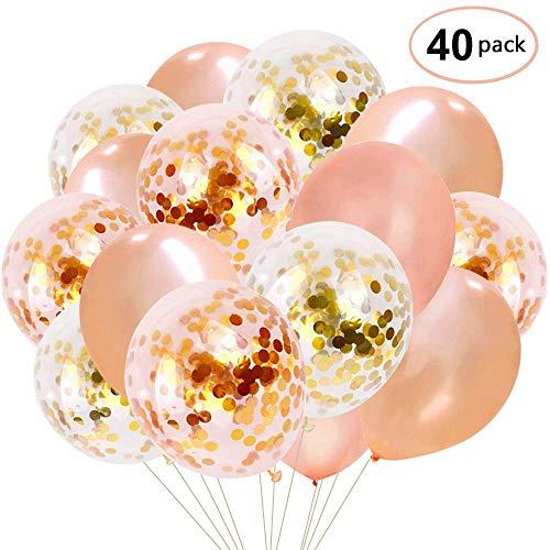 YMSZ Rose Gold Konfetti Luftballons, 40 Stück 12 Zoll Latex Party Luftballon für Baby Dusche Taufe Braut Dusche Hochzeit Geburtstag Dekorationen