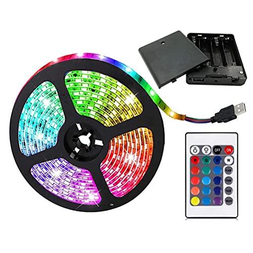 Gwteop Tira de luces LED de 2 m, funciona con pilas RGB que cambia de color, impermeable, 5050 RGB con control remoto para el hogar, gabinete de cocina, festival, decoración de fiesta