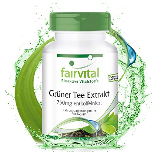 Extracto de Té Verde 750mg - Descafeinado - Dosis elevada - VEGANO - 90 Cápsulas - Calidad Alemana