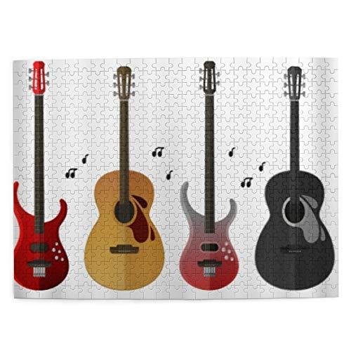 HASENCIV 500 Piezas Rompecabezas Rompecabezas Guitarra eléctrica Guitarra clásica Imprimir Instrumentos Musicales Familia Educativo Intelectual Descompresión Diversión para Adultos Jovenes y F