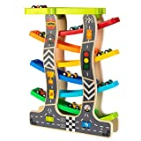 Toy To Enjoy Wooden Racer Ramp Toy with 7 Car Ramps, 1 Parking Garage & 8 Mini Cars – Wood Race Track for 1, 2, 3 Toddlers, Boys & Girls – Educational Vehicle Toys