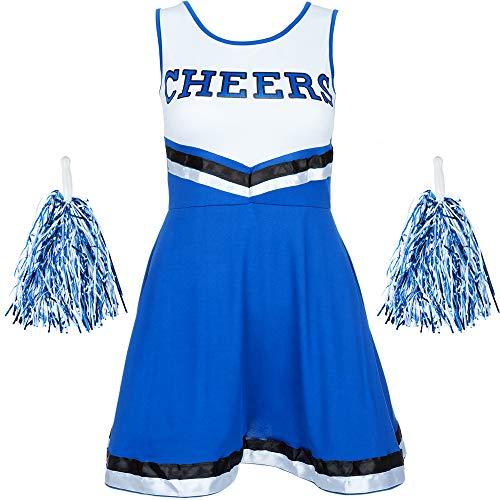 Redstar Fancy Dress - Damen Cheerleader-Kostüm - Uniform mit Pompons - Halloween, American High School - 6 Größen 34-44 - Blau - S