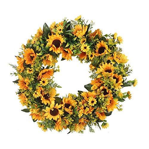 JYCRA Sonnenblumenkranz, künstlicher Sonnenblumenkranz, Sommerherbst, handgefertigt, Türkranz für Zuhause, Garten, Hochzeit, Party, Dekoration (Durchmesser 40 cm)