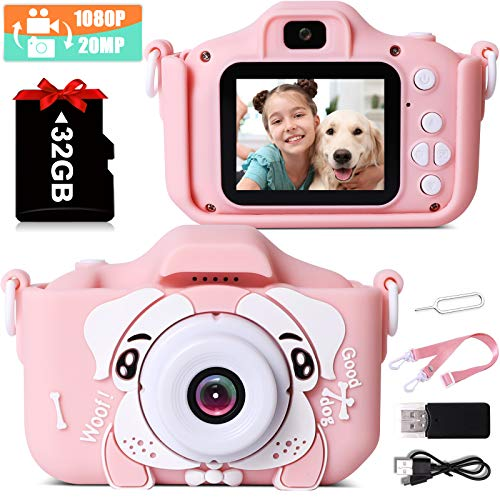 Kids Camera for Girls,1080P HD Kids Digital Camera for Toddler, Anti-Drop Child Camera with 2inches Screen and 20MP Dual Lens Video Camcorder, Best Birthday Gift for Girls Age 3-9 [ 2021 Upgrade ]
