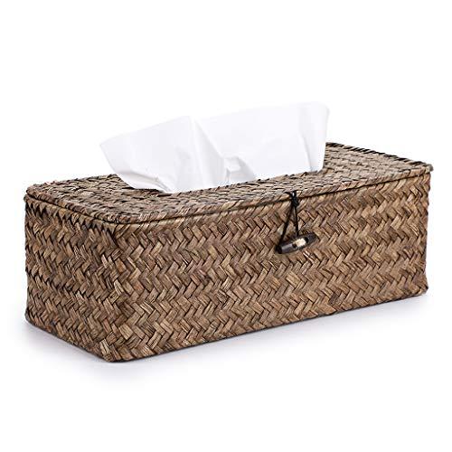Sumnacon Rectangular Woven Tissue Box Holder, Decorative Napkin Holder Pumping Paper Case Dispenser, Facial Box for Home Office Car Automotive Decoration, Coffee