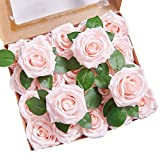 YUZZ Artificial Roses Flowers Blush Fake Silk Roses Heads 25pcs with Stems Realistic Artificial Silk Roses for Wedding Centerpieces Bridal Show Bouquets Party Home DIY Flowers Decoration