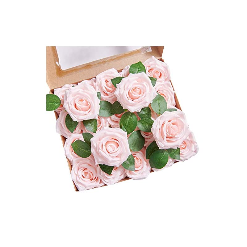 silk flower arrangements yuzz artificial roses flowers fake silk roses heads 25pcs with stems realistic artificial silk roses for wedding centerpieces bridal show bouquets party home diy flowers decoration