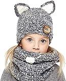 Genfien Winterbaby Kind warme Katze Tiermütze gestrickt Bucht Kapuze Schal Schal Mütze Herbst und Winter