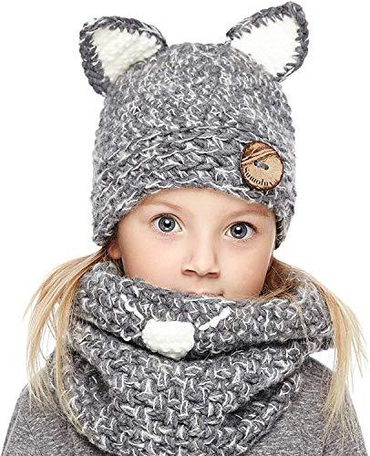 Genfien Sombrero y Bufandas Invierno Sombreros de Punto Coif Hood Gorros de Animales Linda Cálidos Gorros para Otoño Invierno Niño Niña