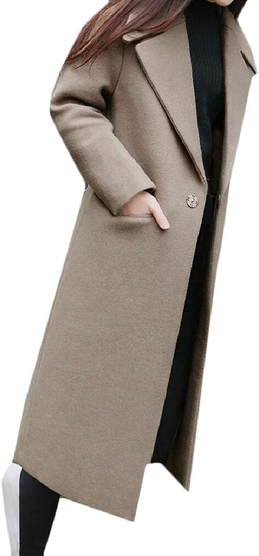 TymhgtCA Women Peacoat Woolen Solid color Loose Mid Long One Button Trench Coat