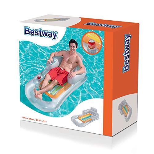 Bestway - Matelas pneumatique fauteuil gonflable plage piscine ultra confort avec dossier et accoudoirs, 157 x 89 cm