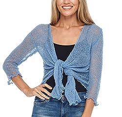 Shu-Shi Womens Sheer Shrug Tie Top Cardigan Lightweight Knit