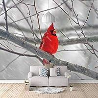 ZDPLL カスタム3D壁画 赤い動物の鳥 ベッドルーム子供部屋ウォールデコレーション 不織布壁画 ポスターアート ホームデコレーション壁画環境保護防水 250x175cm