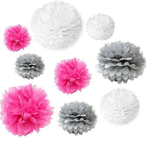 Somnr® Set of 18PCS Mixed White Grey Fuchsia Hot Pink Tissue Pom Poms Paper Flower Wedding Pompoms Birthday Party Bridal Shower Favor Decoration