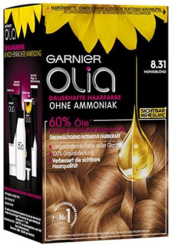 Garnier Olia Haar Coloration Honigblond 8.31 / Färbung für Haare enthält 60% Blumen-Öle für intensive Farbkraft - Ohne Ammoniak - 3 x 1 Stück