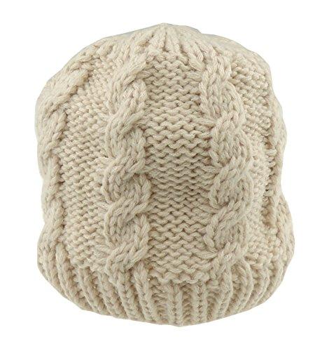 Glamour Girlz Bonnet en tricot torsadé doux pour bébé fille garçon jusqu'à 24 mois (beige)