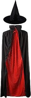 MEZETIHE ユニセックス キッズ 35インチ ブラックとレッド マジシャン ハロウィン ケープ 魔女の帽子付き