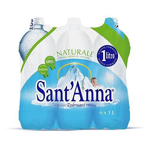 Sant'Anna - Blister d'Acqua Minerale Naturale - Confezione da 6 Bottiglie di Plastica Ciascuna da 1 Litro