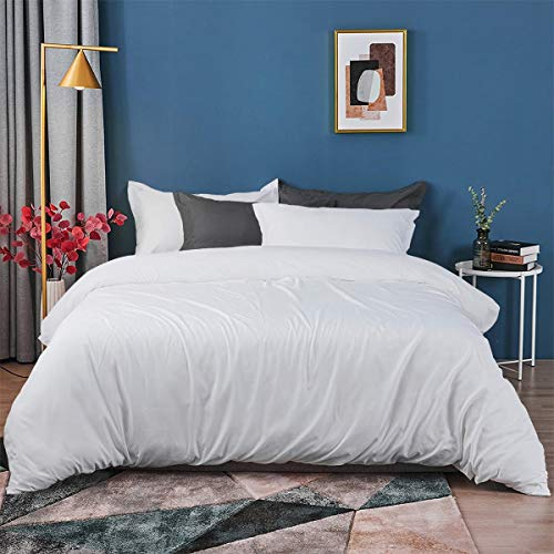 Duvet Covers King Size Bed -100% Cotton Togs Cover King size Beds Set Elegant Thick Mink White Thread Bedding Sets + 2 Pillow Shams Coverless Duvets Cover - Milk White