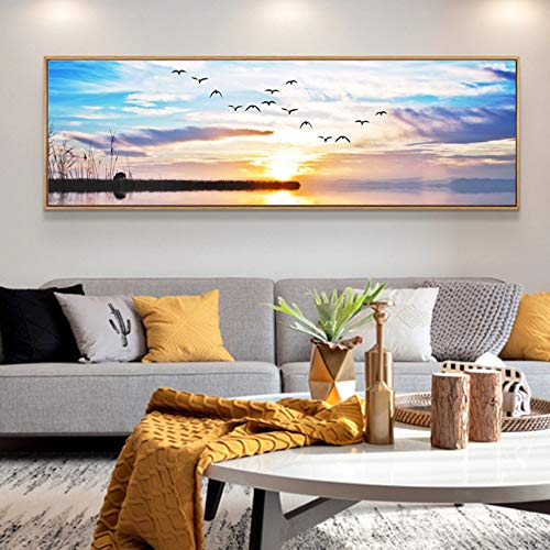Wanddekoration, Leinwanddruck, Motiv: Einzelner Ozean, Kunstdruck, Leinwand, Sonnenuntergang, 50 x 70 cm
