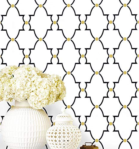 Timeet Black and White Trellis Wallpaper Peel and Stick Wallpaper 17.7'x78.7' Self Adhesive Removable Wallpaper Waterproof for Shelf Liner Drawer Room Wall Decor Film Vinyl Roll