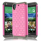 HTC Desire 626 Case,Kmall 2in1 Hybrid Heavy Duty Impact Resistant Shock-Absorption Dual Layer Studded Rhinestone Shine Bling Full-Body Protective Skin Cover For HTC Desire 626s/626W(Pink/Gray)