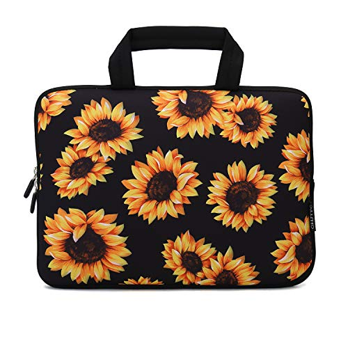 12 Inch Laptop Sleeve Carrying Bag Protective Case Neoprene Sleeve Tote Tablet Cover Notebook Briefcase Bag with Handle for Women Men(Sunflower,12')