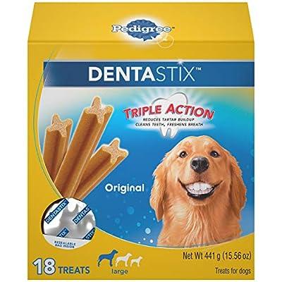 PEDIGREE DENTASTIX Large Dog Dental Treats Original Flavor Dental Bones, 15.6 oz. Pack (18 Treats)