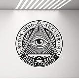 All Seeing Eye Vinyl Sticker Pyramid Eye Tatuajes De Pared Illuminati Sign Decals Vinilo De Pared Decoración Para El Hogar Sala De Estar Dormitorio Mural 42X42 Cm