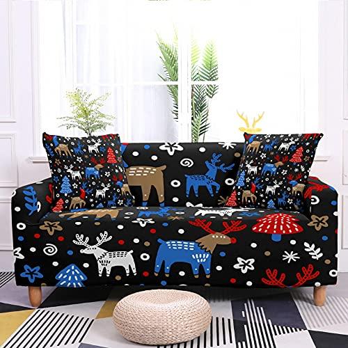 WXQY Funda de sofá elástica navideña Funda de sofá de decoración navideña Antideslizante Funda de sofá Envuelta herméticamente A8 4 plazas