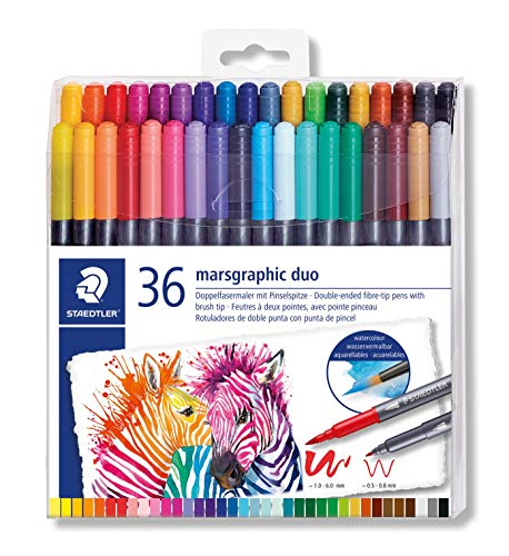 STAEDTLER 3001 TB36 ST Double-Ended Watercolour Brush Pen, Pack of 36, Assorted