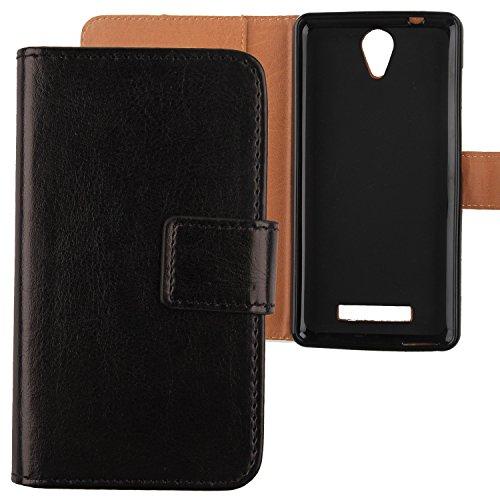 Gukas Flip PU Pelle Case Wallet Cover Custodia Caso Guscio Protettiva Skin Per Archos 50 Platinum 4G 5' 2016 Nero Design