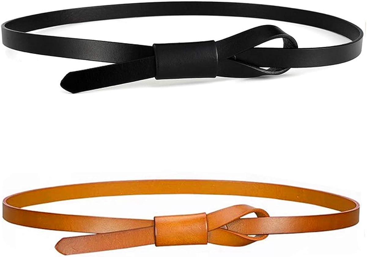 Women Skinny Leather Belts Pack of Ranking Genuine Free Shipping TOP3 2 Waist Adjustabl Dress Thin