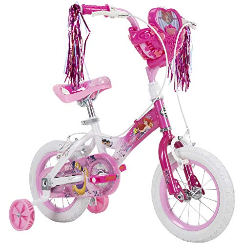 Huffy Disney Princess Kid Bike, Quick Connect Assembly, 12 & 16 inch, Pink w/ Training Wheels, Streamers