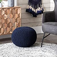 Deals on nuLOOM Ling Knit Filled Ottoman Navy Round Pouf