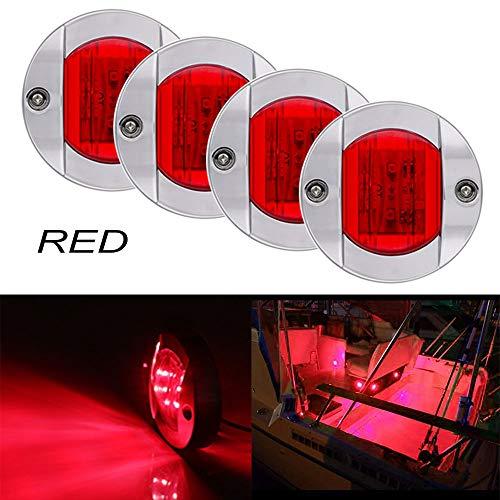 Bkinsety 4 piezas Luces de navegación LED 12V para barcos marinos Impermeables Luces de popa(Rojo)