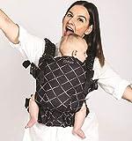 Isara The One Diamonda Black Marsupio Neonato - Regolabile - Marsupio ergonomico - 3-20 kg - Per neonati dalla nascita - Zaino porta bambino - Marsupio e schiena - 100% cotone biologico