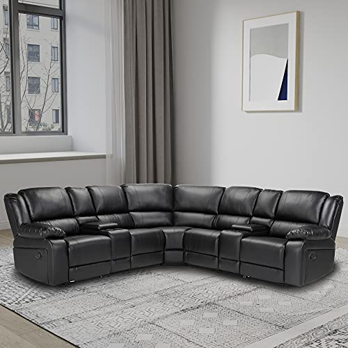 themagichome Sectional Sofa Symmetrical Reclining Sectional Sofa PU Modern Sectional Sofa Couch Power Motion Sofa Living Room Sofa Corner Sectional Sofa with Cup Holder-Black Leather