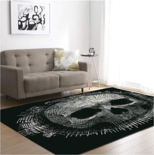 Personalizado cráneo impresión alfombra dormitorio salón cojín antideslizante sofá mesa de café exquisita poliéster alfombra 120* 160cm