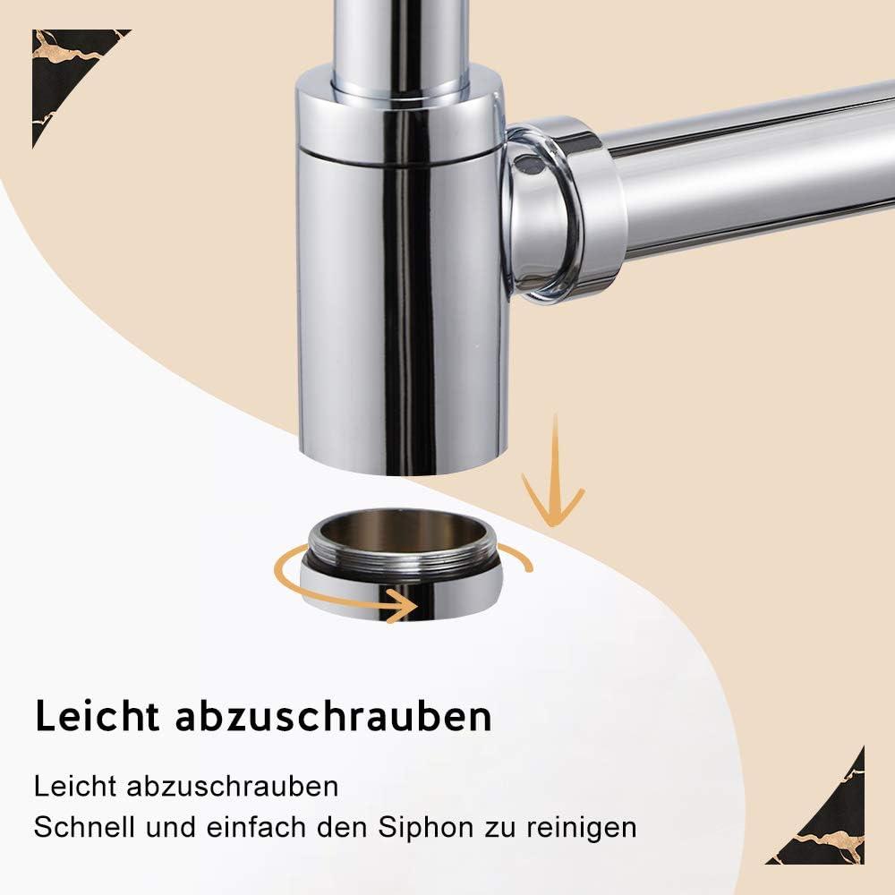Pop Up Ventil mit Abflussgarnitur passgenau schwarz matt aus Messing Wasserrhythm Universal Siphon mit Ablaufgarnitur f/ür Waschbecken und Waschschalen mit /Überlauf