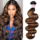 Beauty Forever #FB30 Color Brazilian Body Wave Hair Weave, 8Inch One Bundle Highlight Ombre Color Unprocessed Virgin Remy Human Hair Extension
