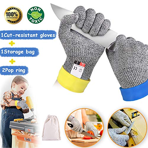 Dzsee Schnittfeste Handschuhe Kinder, Arbeitshandschuhe Kinder, Handschuhe für Gartenbau, Leistungsfähiger Level 5 Schutz, lebensmittelecht, Messer zu schärfen,Holz zu schnitzen (XS)