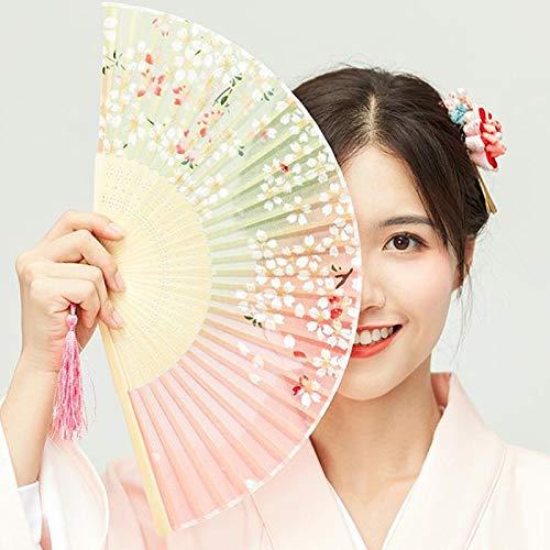 weichuang Abanico de bambú vintage plegable de mano con flores chinas para fiesta de baile sólido para fiesta de bambú de mano y flores de mano personalizados