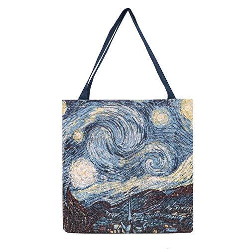 Signare Tapestry - Borse da donna ispirate a Vincent Van Gogh, Starring Night (borsa della spesa riutilizzabile, GUSS-ART-VG-STAR)