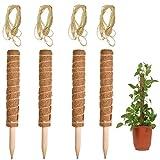 4 varillas de 40 cm Palo de Tótem de Coco, Tótem de Musgo de Coco, Tutores para Plantas, Bastón Palo de Fibra de Coco, Soporte para Extensiones de Plantas(Con 4 cuerdas de cáñamo de 2 m)